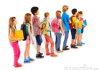 group-boys-girls-standing-line-back-view-queue-diverse-students-books-holders-backpacks-57845179