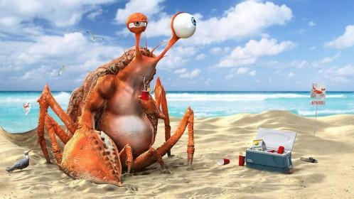 crap-3d-lemon-tea-summer-creative-funny-ocean-art-sand-wallpaper